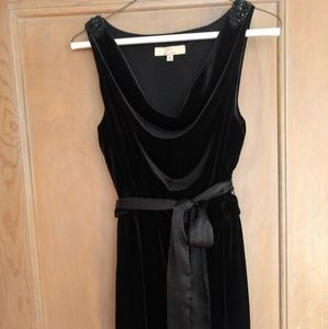 Black velvet dress with beaded shoulders, size 2